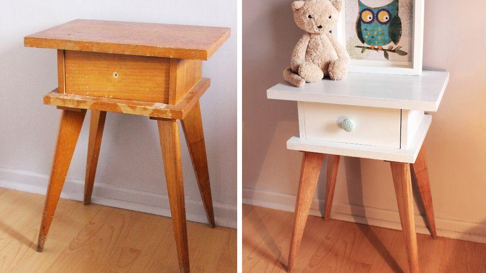 Blanc, bois et vert menthe Nous avons travaillé à partir du papier - comment restaurer un meuble