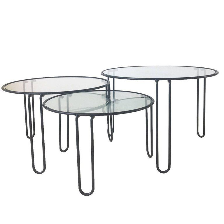 Set Of Three Mid Century Metal And Glass Black Coffee Tables With