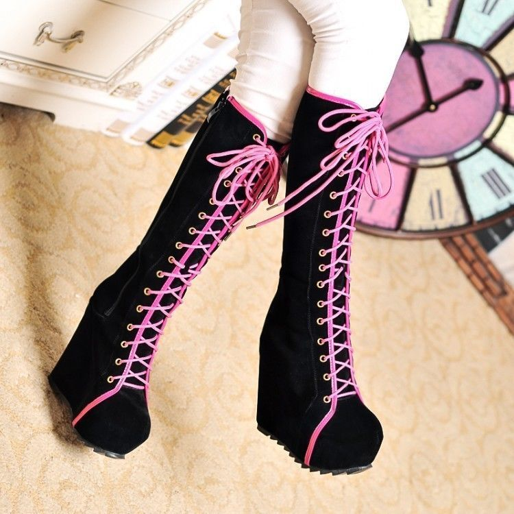 Womens Goth Roman Super Platform Wedge Heels Lace Up Knee High Boots Size