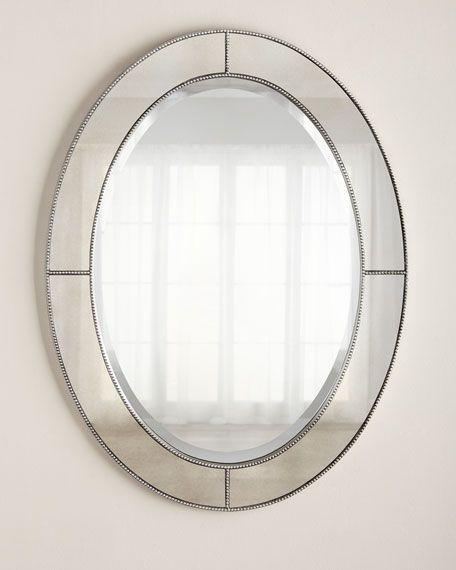 Beaded Mirror Oval Bathroom, Oval Silver Beaded Mirror