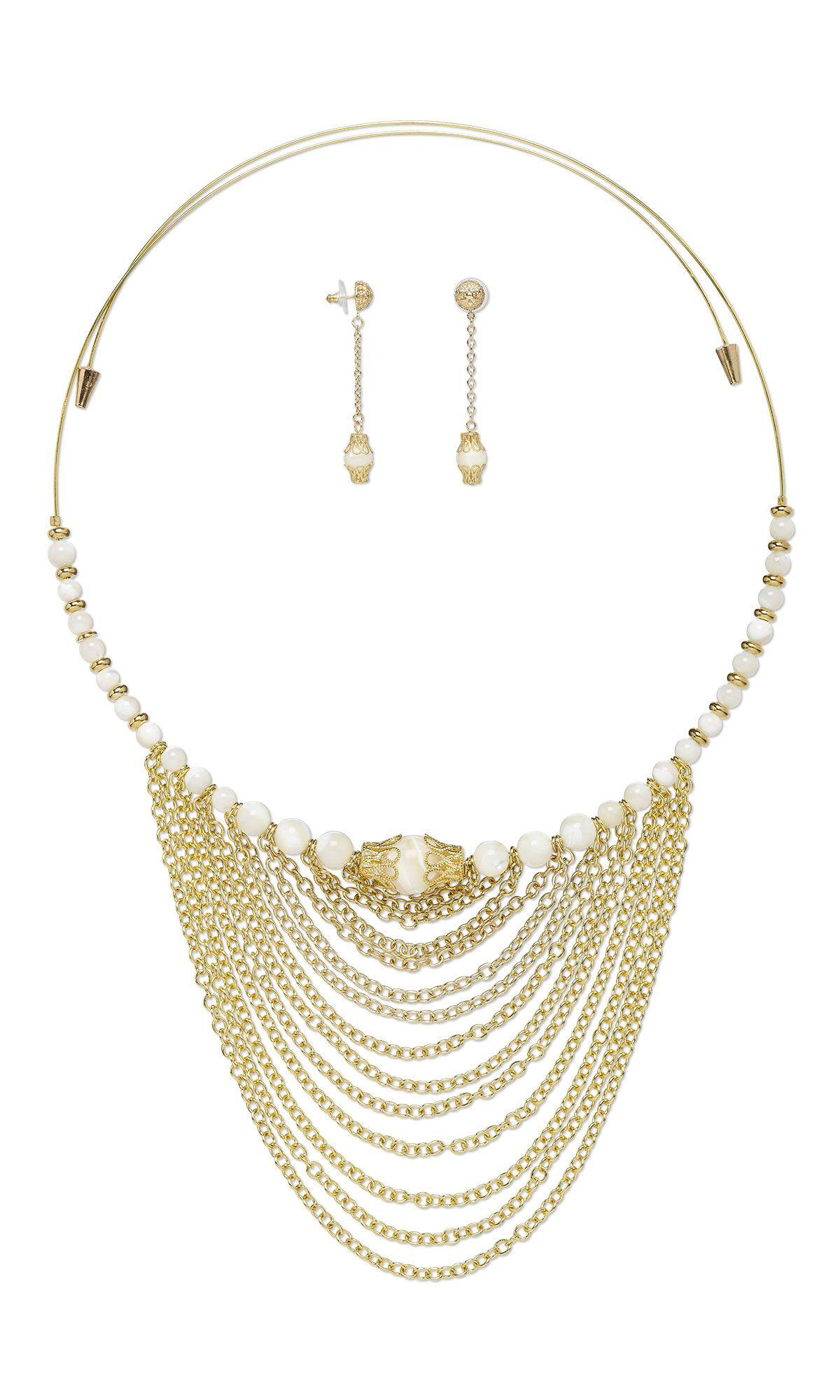 Jewelry Set Women Silver Plated Bib Chain Necklace Earrings Ring Bracelet MT