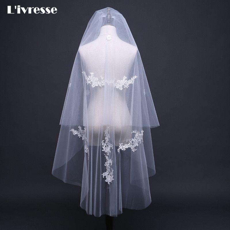 >> Click to Buy << 2 T Short Simple Ivory 1.2 Meter Wedding Bridal Veil With Comb Appliques Wedding Veil Short Velos De Novia Voile Mariage #Affiliate