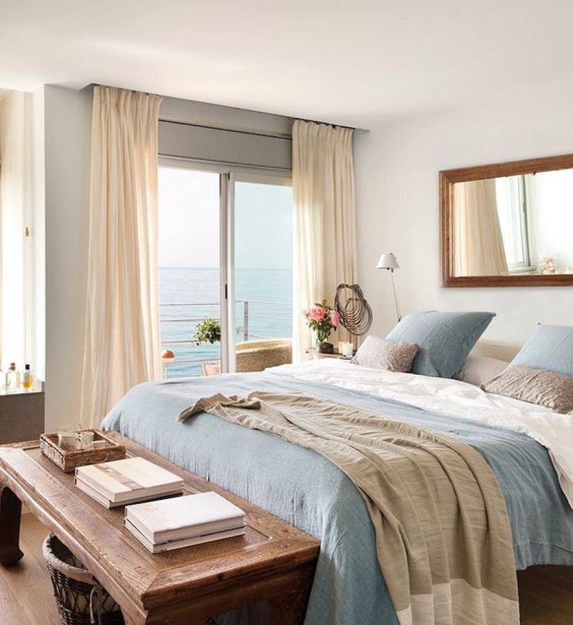 Dormitorio en tonalidades beige y azul colores cuarto for Decoracion de habitaciones feng shui
