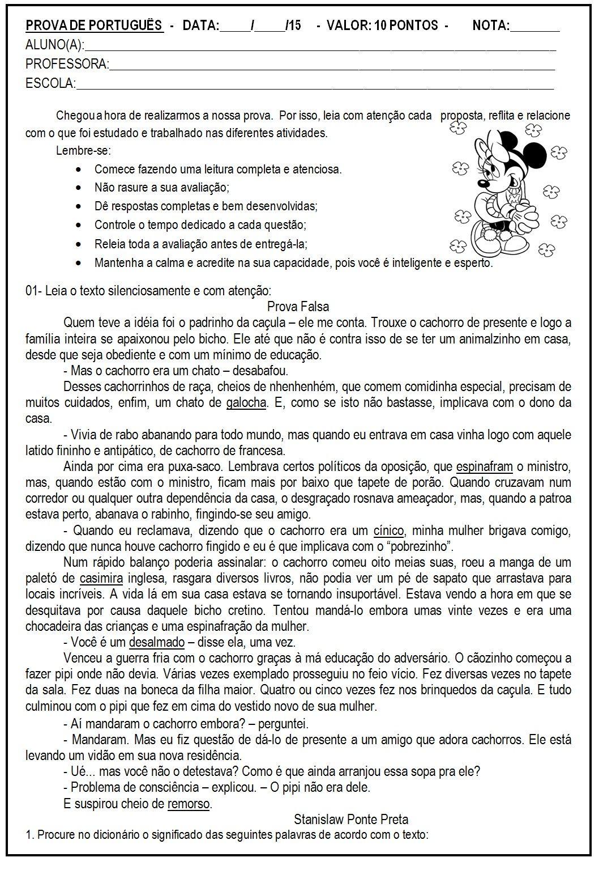 Avaliacao Atividade De Lingua Portuguesa Com Imagens
