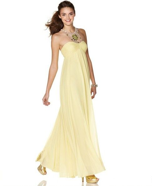 Bright Yellow Prom Dresses | Flowing dresses, Stone and Bright yellow