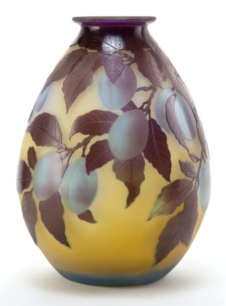 62057 Galle Glass Vase Yellow Cameo Glass With Ochre On Pinterest