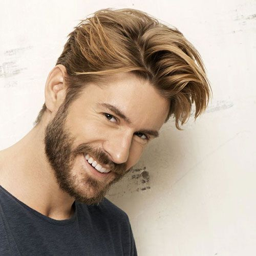 Classy Mens Haircut Long Sides With Textured Comb Over Beard
