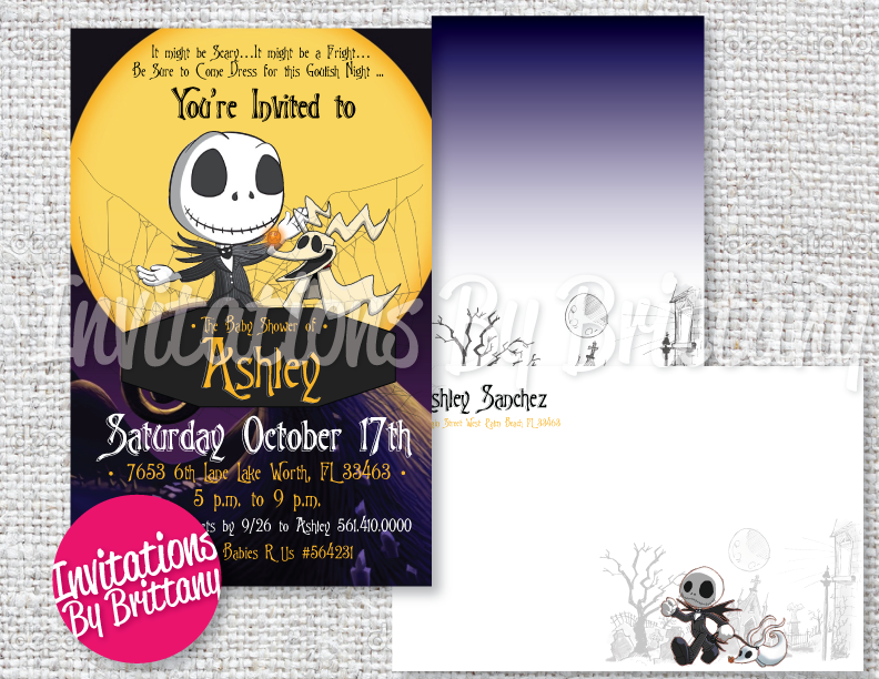 Nightmare Before Christmas Baby Shower Invitations And Matching
