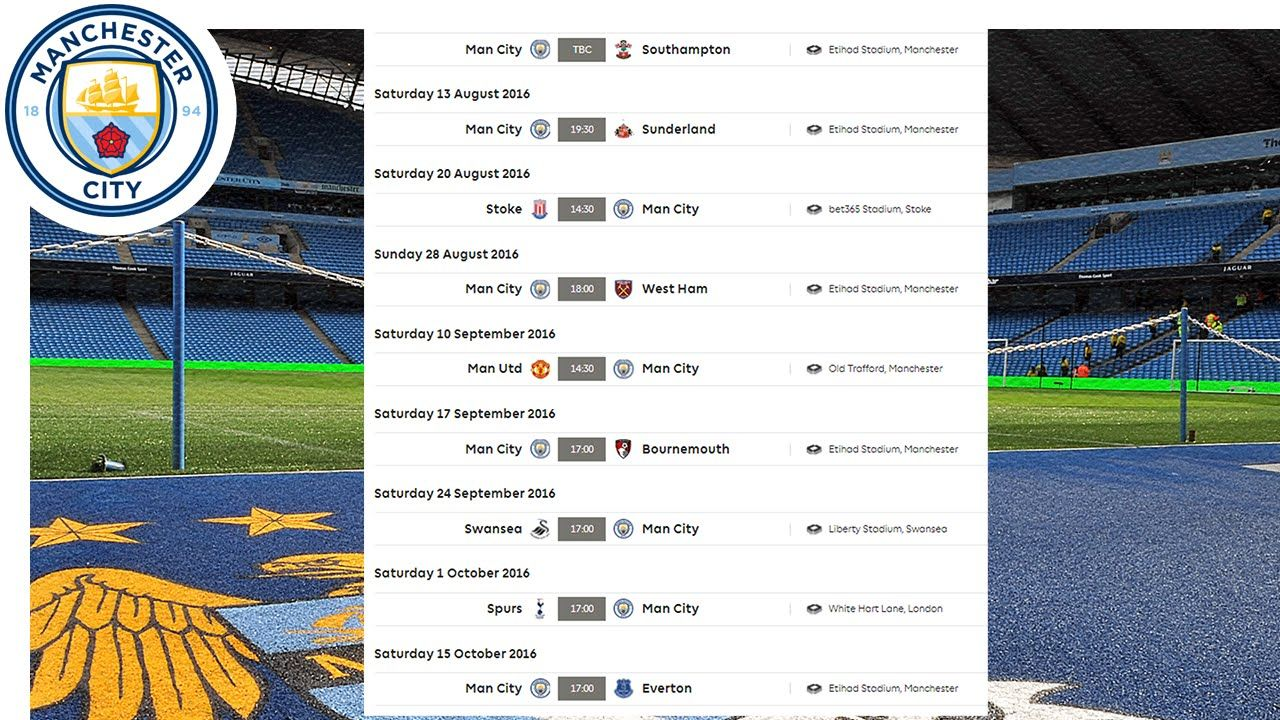 Manchester City All Fixtures Premier League 2016/17