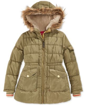 888ca53cb540 London Fog Little Girls  Stadium Puffer Coat with Faux Fur Trim ...
