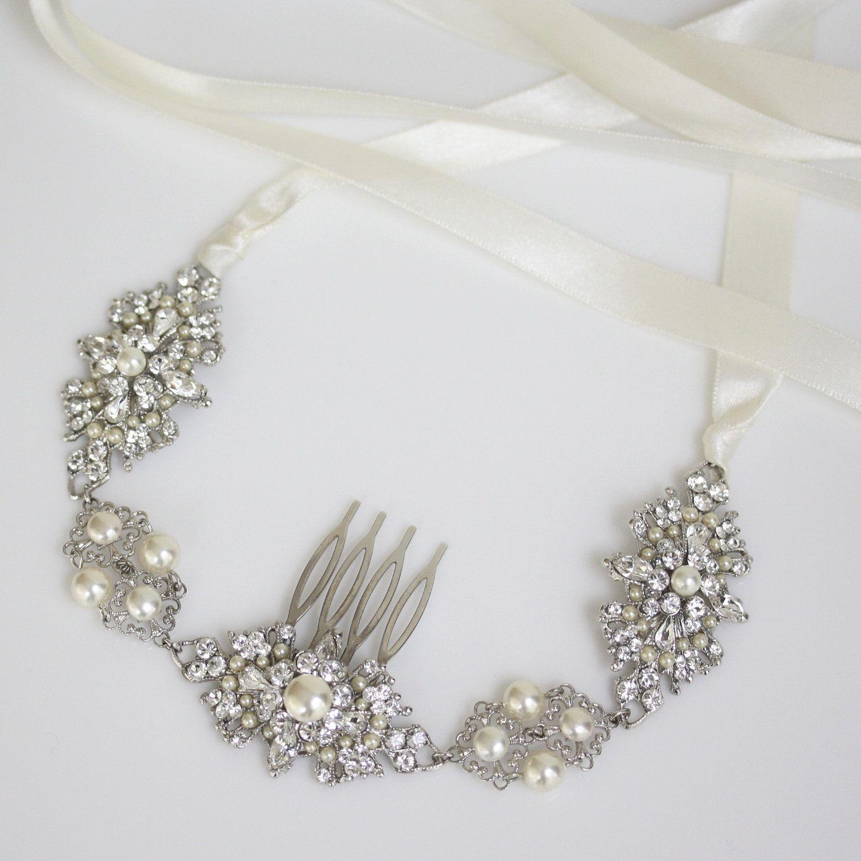 Bridal Headband, Hair Jewelry, Wedding hair Accessories, Ribbon ...