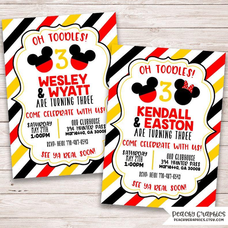 Twin Mickey Invitation - Twin Mickey and Minnie - Double Invite ...