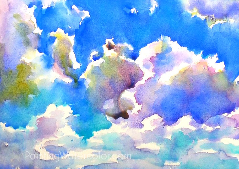 Blue Sky Sketching Watercolor Painting Tutorial 6 Watercolor