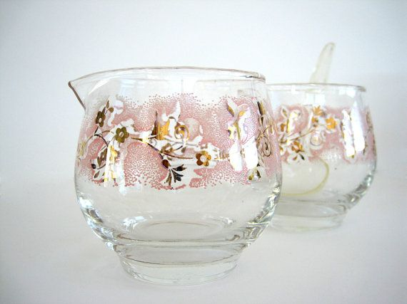 Vintage Sugar and Creamer Glass Duchess Pink Flowers ...