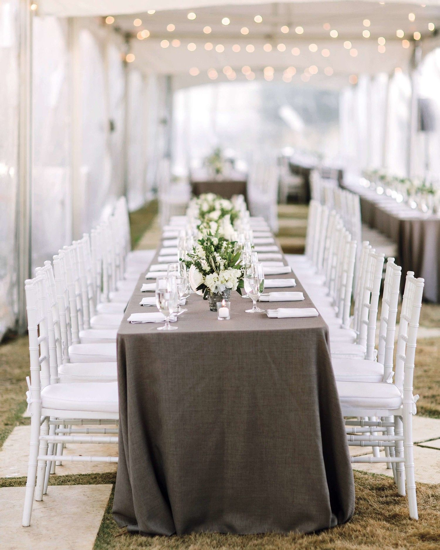 42 Stunning Banquet Tables for Your Reception | Grey tablecloths ...