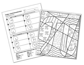 Area and Circumference of Circles Pi Day Coloring Activity