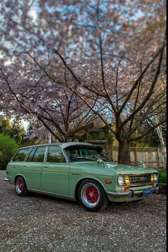 1971 Datsun 510 Bluebird Wagon, Landscape Photography, Metal Print, Large Prints, Humboldt County CA, Classic Cars, Sunsets, DJerniganPhoto