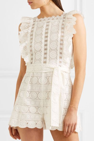 3393cfdd27f Zimmermann - Kali Daisy Broderie Anglaise Cotton And Lace Playsuit - White