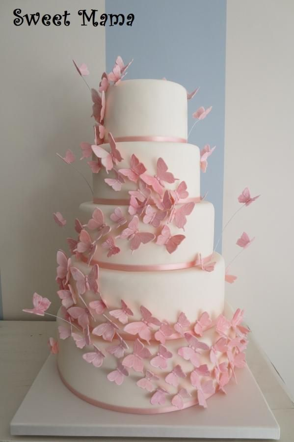 Pink butterflies wedding cake