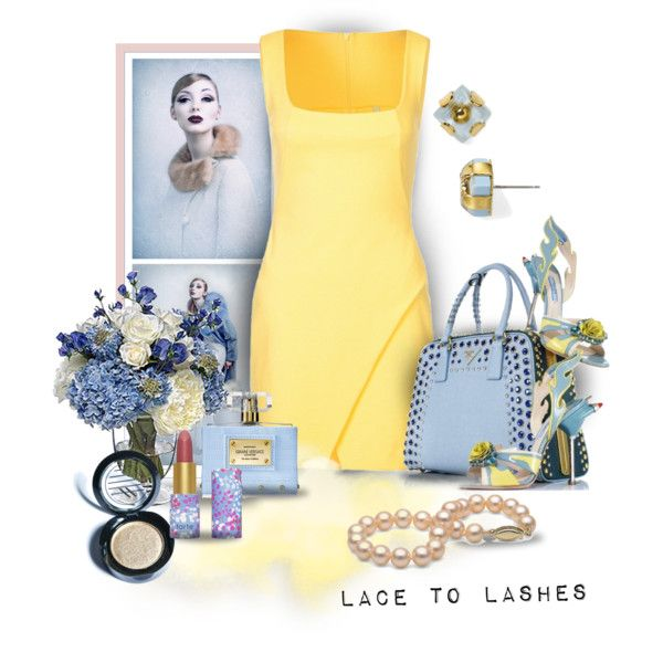 Charming by lacetolashes on Polyvore featuring Plein Sud, MARC BY MARC JACOBS, Ardency Inn, tarte, Versace, PEONY, blueandyellow, yellowdress and lacetolashes