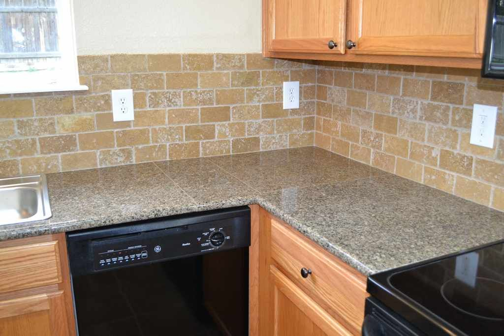 Antique Brown Granite Tile Countertops Kitchen Kitchen Counter