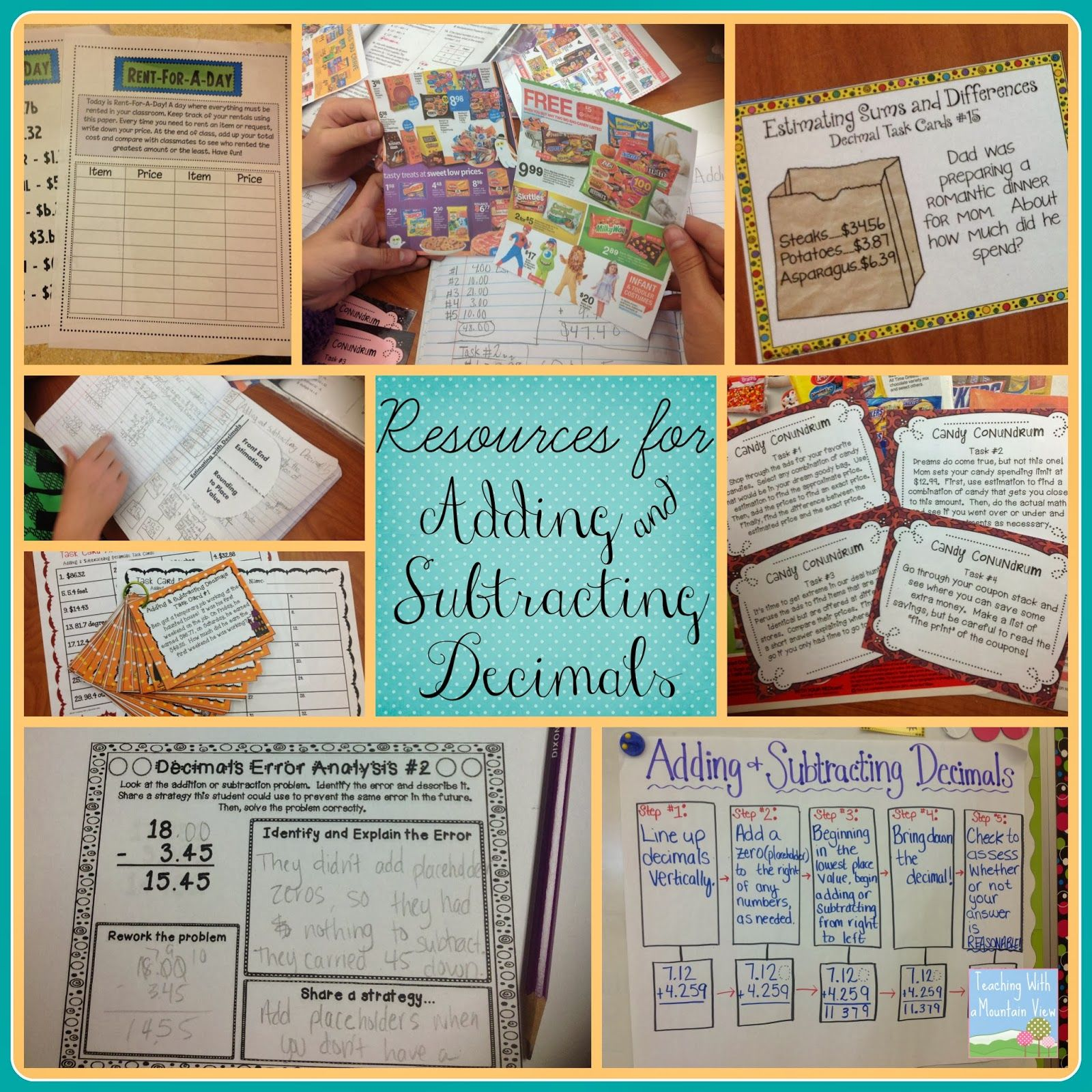 Adding And Subtracting Decimals Activities Freebies Teaching With A Mountain View Subtracting Decimals Subtracting Decimals Activity Decimals Activity Estimating decimal addition and