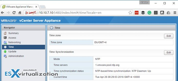 VMware VCSA - Configure NTP   Server Virtualization   Linux