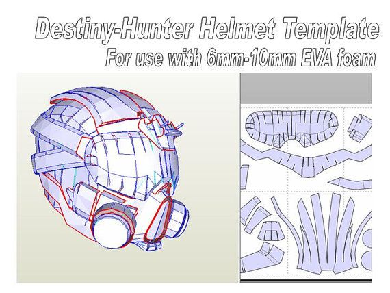 destiny helmet hunter template for eva foam helmet pdf file and pdo file gifts pinterest. Black Bedroom Furniture Sets. Home Design Ideas