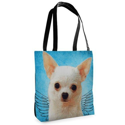 Canvas bags totes dog blue big art printing shopper print photo painting bright over the shoulder