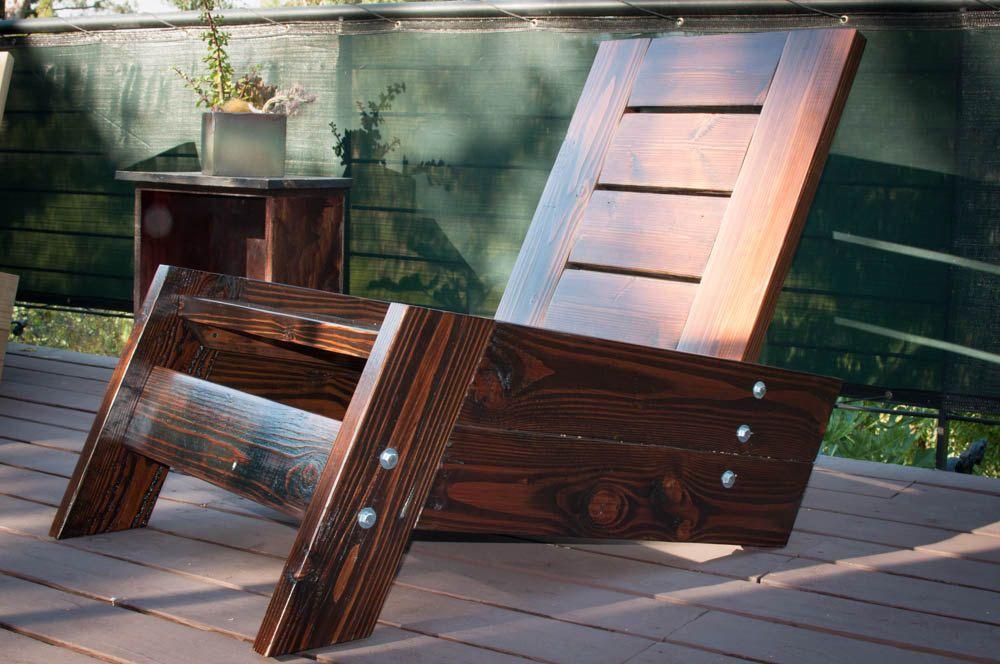 Houten Balkon Meubels : SÃo rafael modern vintage reclaimed wood deck chair houten dekken