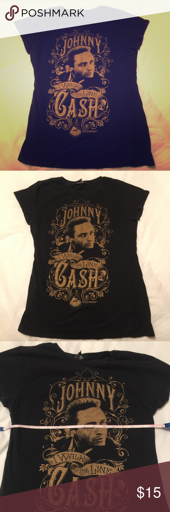 "🎸 Johnny Cash Women's T-Shirt Nice and broken in tee.  Fits like a medium, but it says 1x on the tag.  Go figure!  I'm calling this a medium.  Fits 36c chest pretty snug.  15"" across chest.  Stretchy tee shirt. Tops Tees - Short Sleeve"