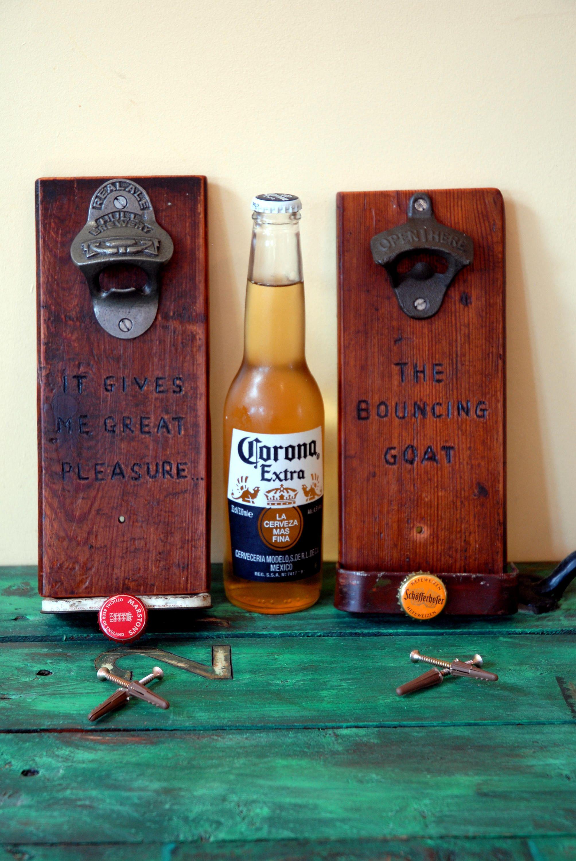 Personalised Handmade Bottle Opener Wall Mounted Upcycled Etsy Bottle Opener Wall Wall Mount Beer Bottle Opener Beer Bottle Opener