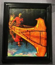 Framed Calendar Print Of Mountie In Canoe Arnold Friberg With