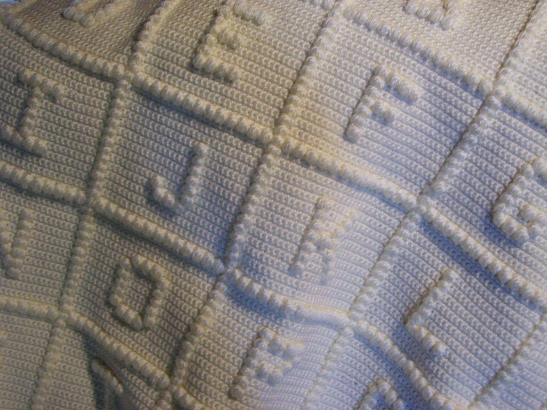 ABC Crochet Baby Blanket by ForeverCrochet on Etsy