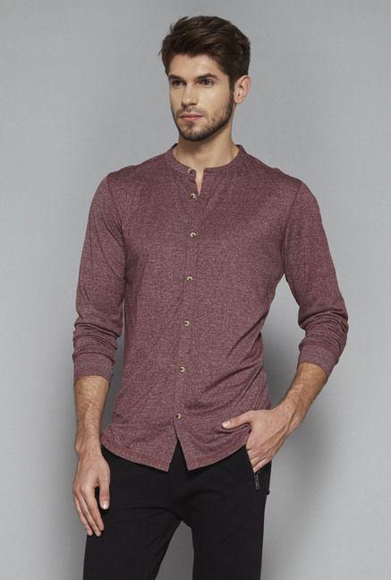 0de338c951d2 ETA by Westside Maroon Slim Fit Textured T Shirt | Tata Cliq | Mens ...