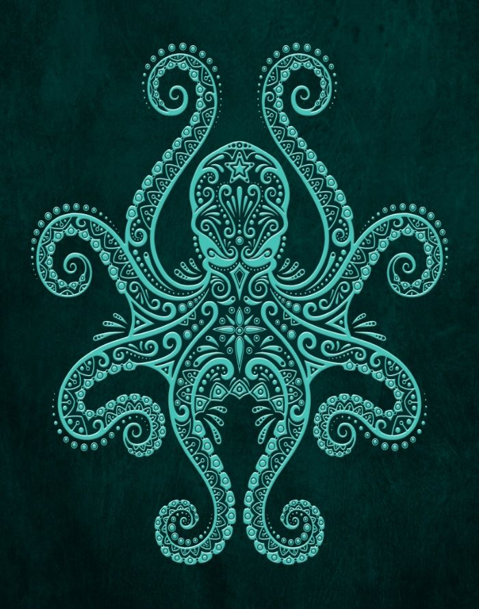 Intricate Teal Blue Octopus Art Print Cute Art