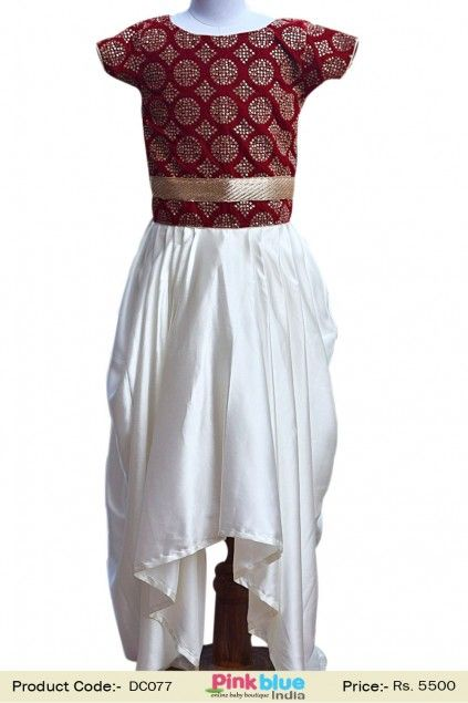 e38b57485697 Latest Designer Red and Off White Party Wear Gown for Girls - Baby Girl  Ethnic Clothing