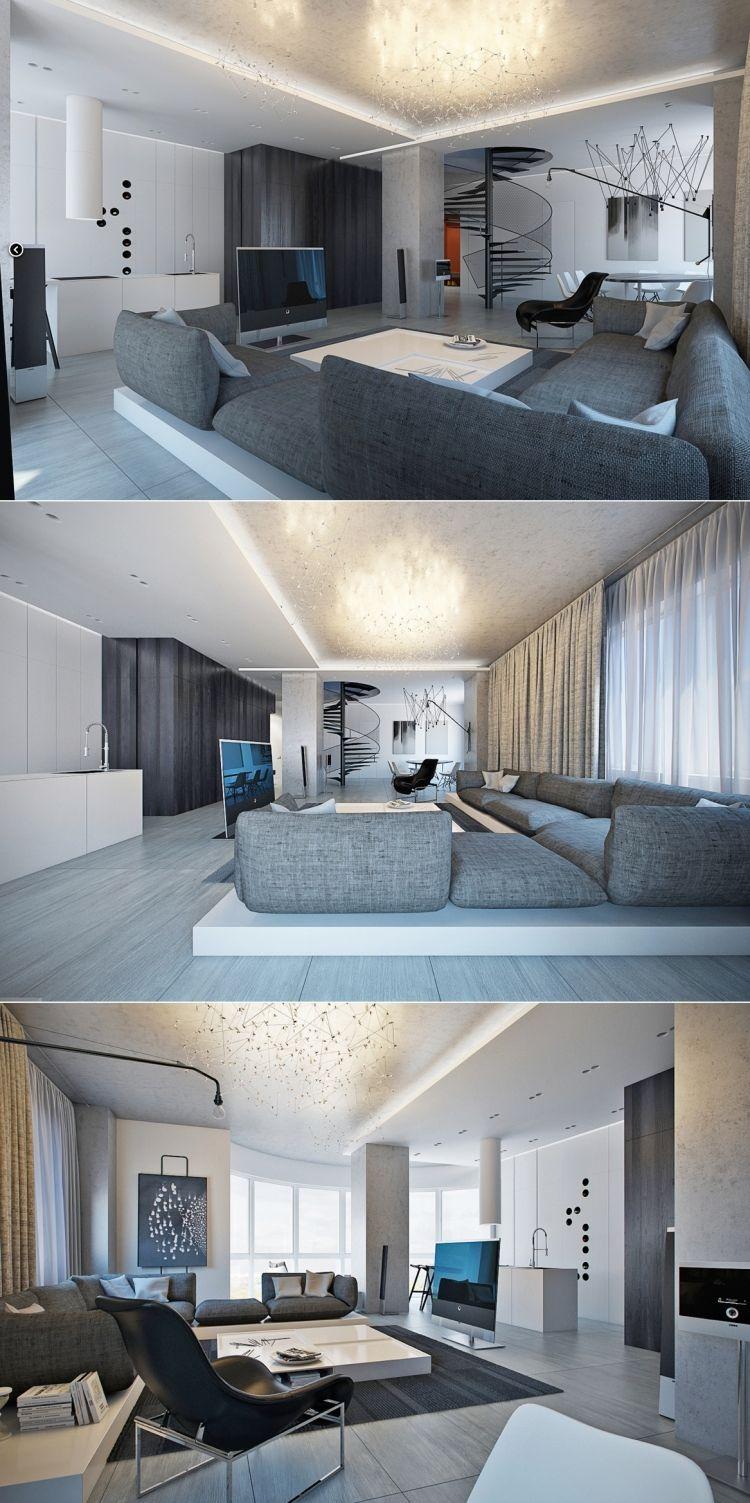 Beispiele Zum Wohnzimmer Einrichten Grau Weiss Modern Kronleuchter