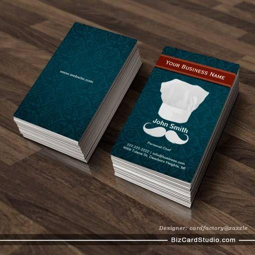 White Mustache Personal Chef Business Card Personal Chef Business Bakery Business Cards Templates Bakery Business Cards