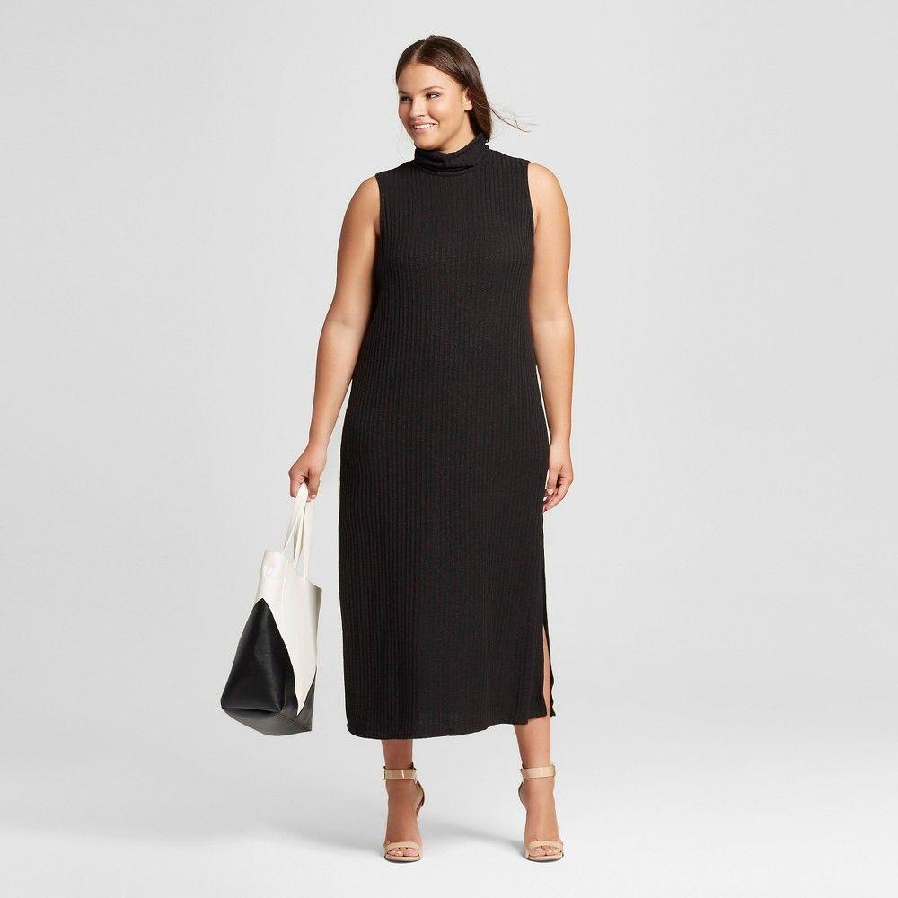 Women\'s Plus Size Sleeveless Turtleneck Dress Black 1X - Who What ...