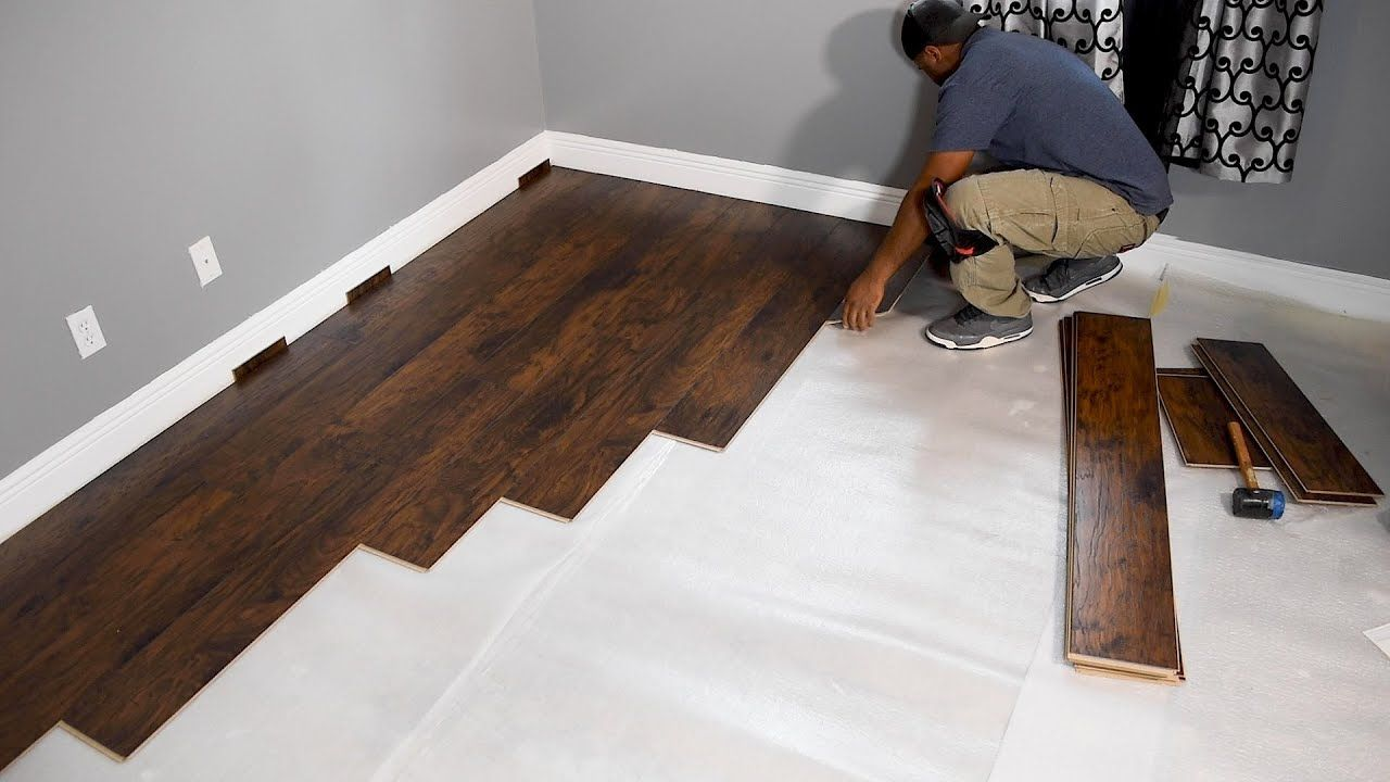 How To Install Laminate Flooring For Beginners First Time Installation Youtube Laminate Flooring Diy Installing Laminate Flooring Diy Flooring