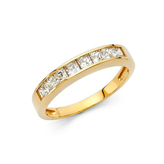 14K Solid Gold 1ct Princess Cut Channel Set Simulated Diamond Wedding Band Ring