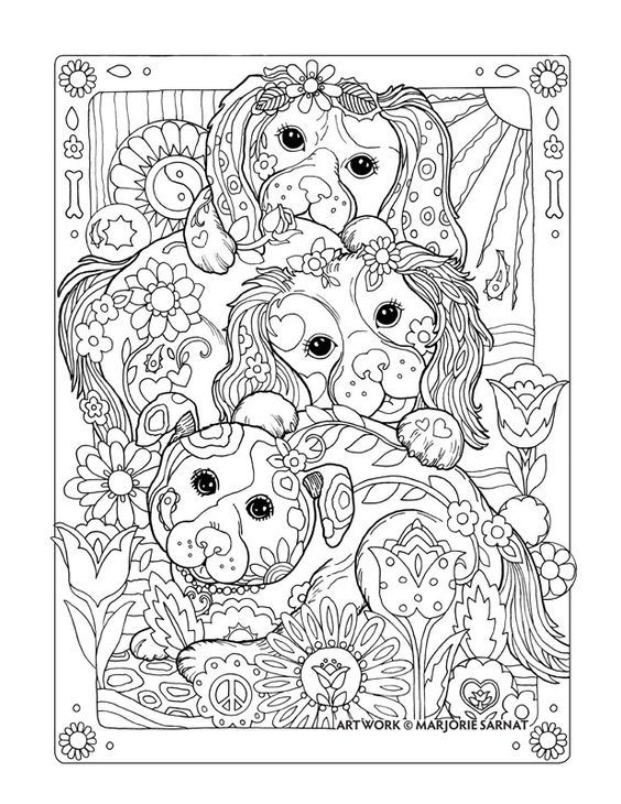 Huddling Pups : Dazzling Dogs Coloring Book by Marjorie Sarnat ...