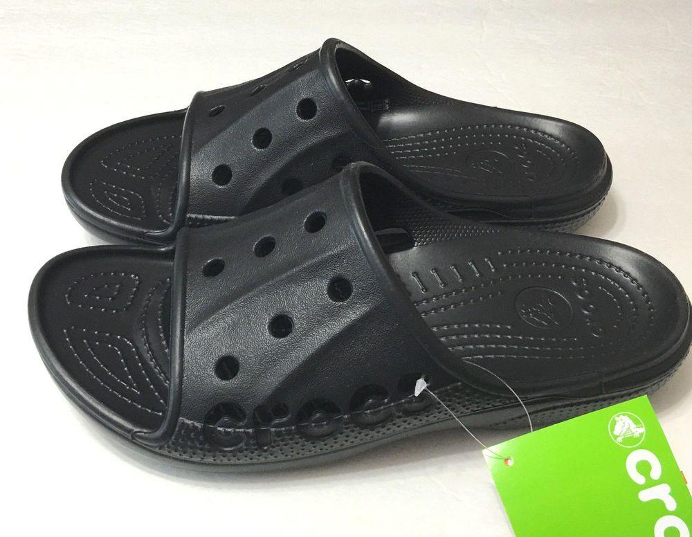 074edc22a7fcd6 Crocs Baya Slides Sandals Slip On Black Womens Mens Flip Flops Waterproof  New  Crocs  SlidesSandals  crocsbayaslides  ebaystore