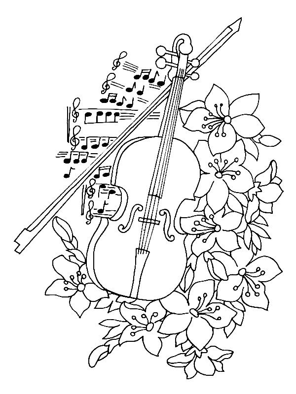 Violin unit study girly violin coloring page