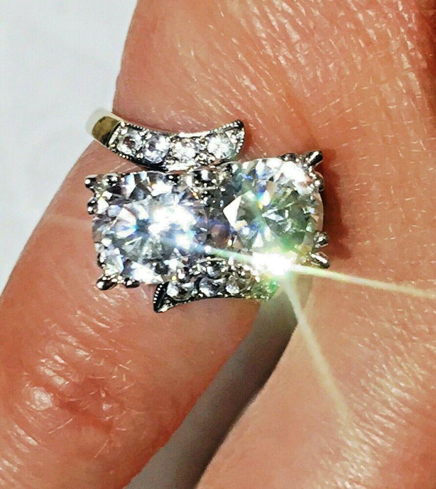 4ct Brilliant Round Sapphire Eternity Wedding Band Ring 14K Yellow Gold