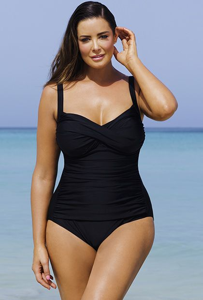 cf98b121647f2 Shore Club Black Twist Front Plus Size Swimsuit. Great for a slimmer  look...find at www.swimsuitsforall.com