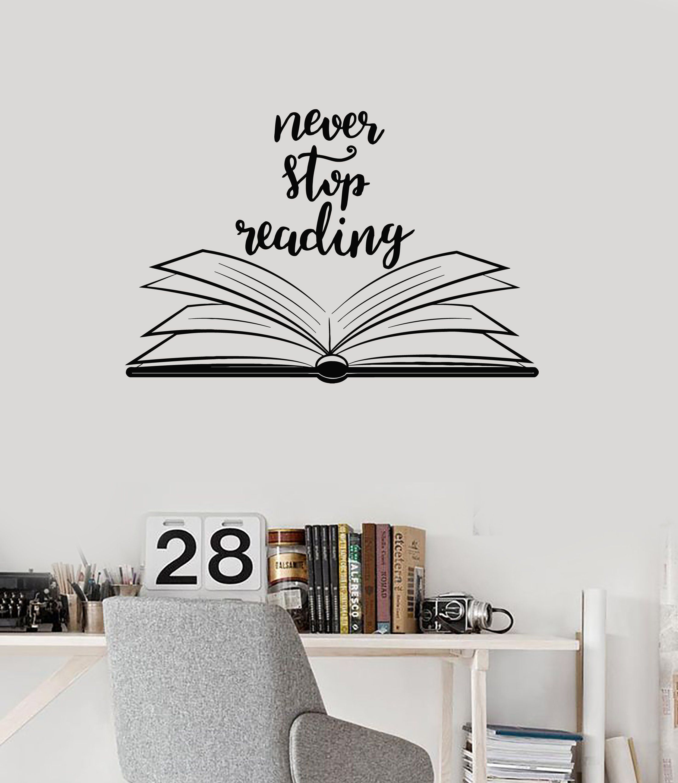 Vinyl wall decal open book quote reading room library decor stickers mural ig5184