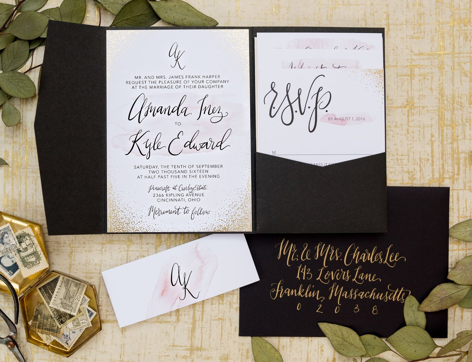 Gold Foil Dot And Blush Watercolor Wedding Invitation Suite Blush