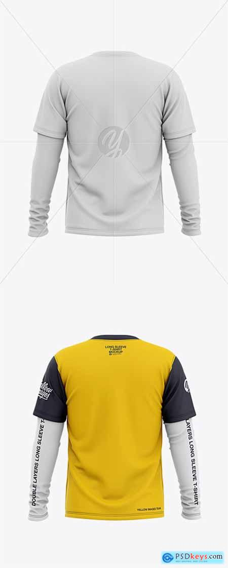 Download Men S Double Layer Long Sleeve Knit T Shirt Mockup Back View 36435